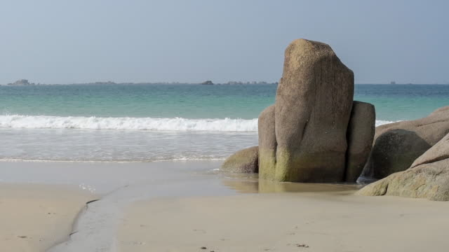 Large rocks on the beach at Cleder, Finistere.