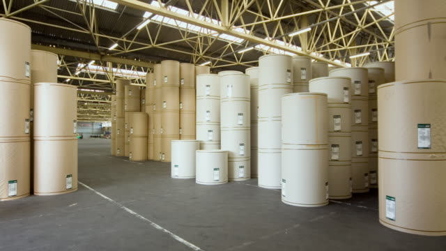 vídeos de stock e filmes b-roll de tl ws large rolls of paper in warehouse at ports of auckland being moved with forklifts/ auckland, new zealand - cilindro veículo terrestre comercial