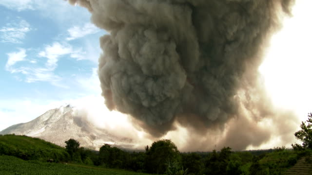 large rotating cloud of ash drifts from sinabung volcano in sumatra, indonesia after a major eruption. - 2015 stock videos & royalty-free footage