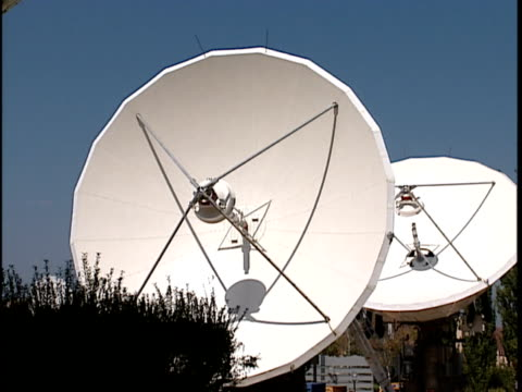 ms, large satellite dishes - astronomical telescope stock videos & royalty-free footage
