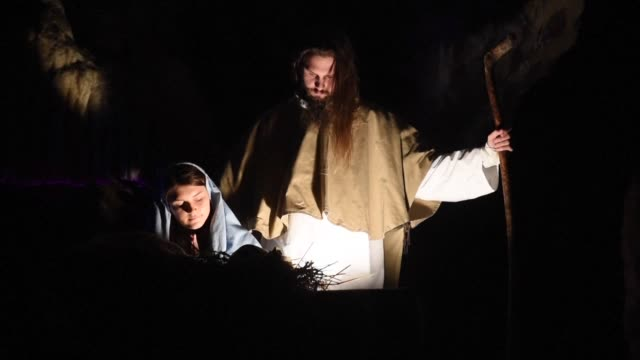 large scale biblical scenes are recreated in slovenias annual nativity play at postojna cave - biblical event stock videos & royalty-free footage