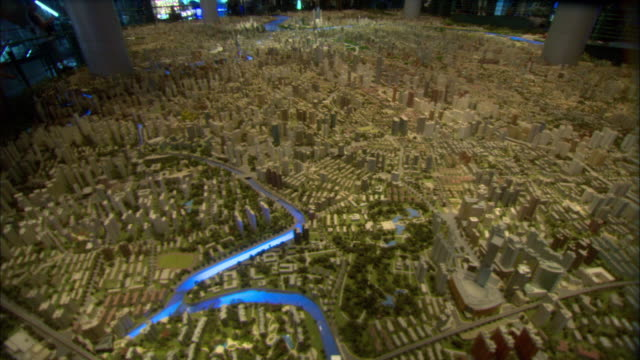 ws tu td large scale model of city of shanghai in year 2020 on display at shanghai urban planning museum, shanghai, china - exhibition stock videos & royalty-free footage