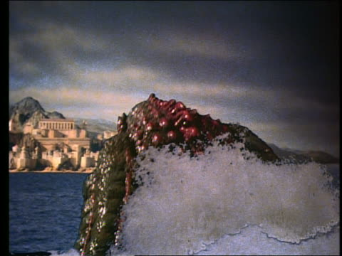 Large sea monster diving into ocean / Classical city on shore in background
