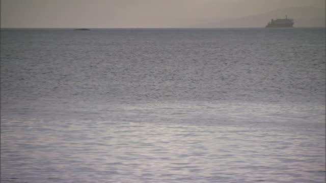 a large ship cruises by on the ocean's horizon. - kryssa bildbanksvideor och videomaterial från bakom kulisserna