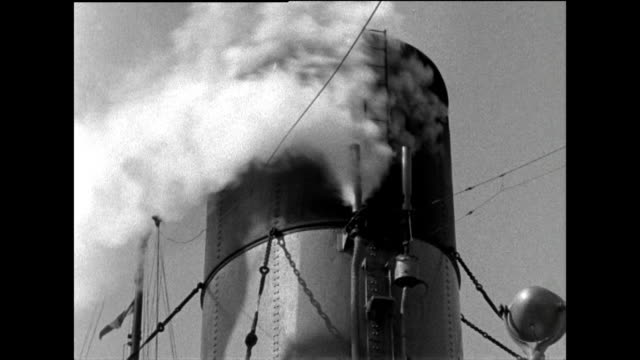 large ship funnel with horn blowing steam in wind; 1963 - ship stock videos & royalty-free footage
