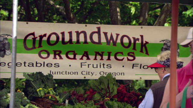 MS Large sign reading 'Groundwork Organics' hanging over piles of vegetables on table at outdoor farmer's market / Lake Oswego, Oregon, USA