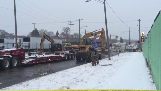a large sinkhole opened up on tireman avenue near greenfield road in dearborn michigan - dearborn michigan stock videos and b-roll footage