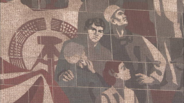 a large socialist mural adorns the exterior of the people's palace of culture in dresden germany. available in hd. - socialist party stock videos and b-roll footage
