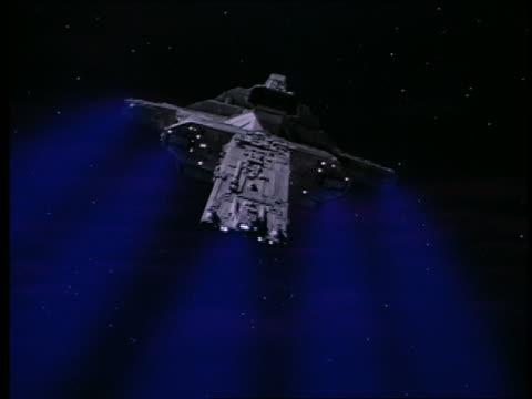 vídeos de stock, filmes e b-roll de large spaceship shooting off blue lasers - batalha guerra