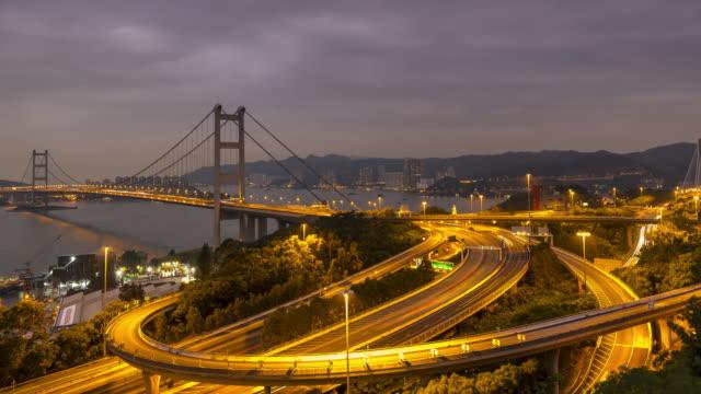 Large span suspension bridge time lapse zoom out