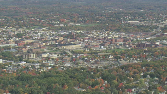 aerial large sprawling town / augusta, maine, united states - augusta maine stock videos & royalty-free footage
