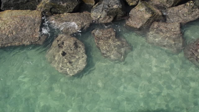 large stones wave breakers stones separating miami beach from the biscayne bay. water gentle crashing against the man made structure - biscayne bay stock videos & royalty-free footage