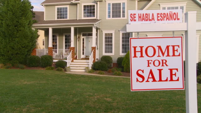 ms, tu, large suburban house with 'for sale' sign in front yard, richmond, virginia, usa - chance stock videos & royalty-free footage
