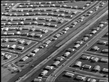 b/w 1953 aerial large suburban neighborhood / pennsylvania (not levittown) - 1950 stock videos & royalty-free footage