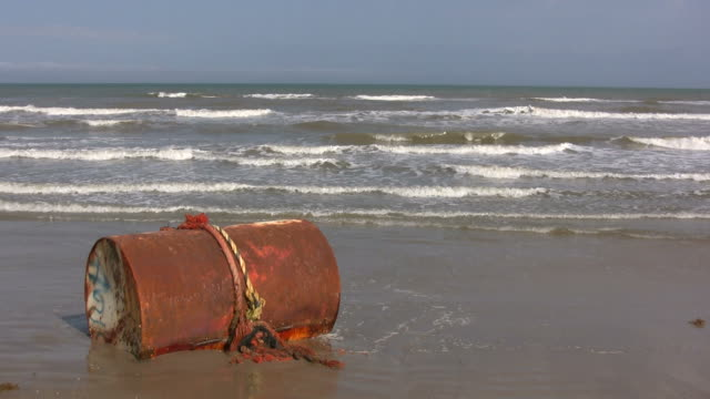 large tank washed up on beach - gulf of mexico stock videos and b-roll footage