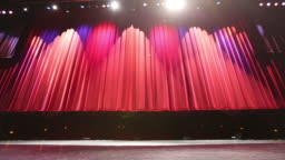 Large Theatre From Stage Curtain Lifts Wide Shot