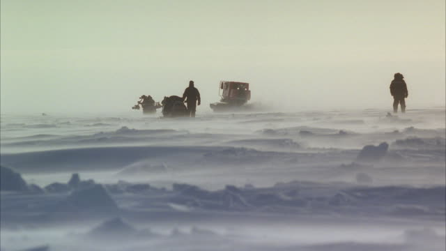 "ws ts large tractor like vehicle ""sno-cat"" on frozen artic landscape - polarklima stock-videos und b-roll-filmmaterial"