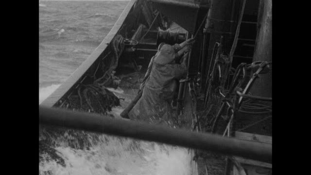 montage large trawler taking on water, sailors lighten their craft's load / scotland, united kingdom - 1938 stock videos & royalty-free footage