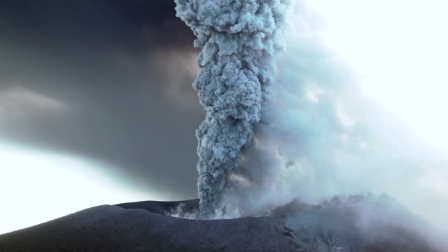 Large volcanic eruption at Shinmoedake crater at Kirishima volcano in Japan sends ash high into the sky