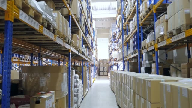 large warehouse logistic center - vanishing point stock videos & royalty-free footage