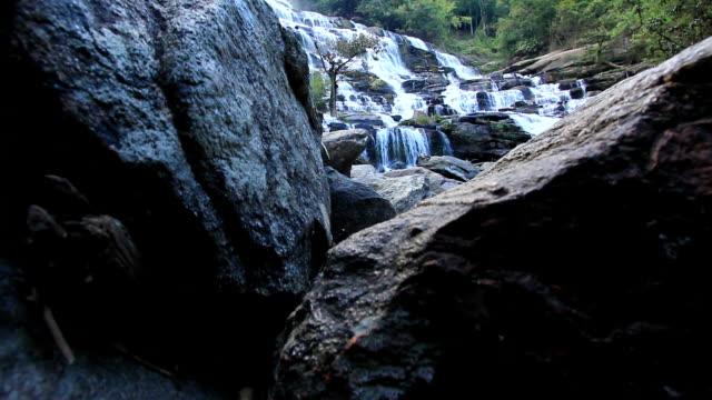 vídeos de stock e filmes b-roll de grande cascata em floresta profunda, plano charriot - árvore tropical