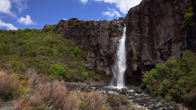 slow motion: large waterfall - tongariro national park stock videos & royalty-free footage