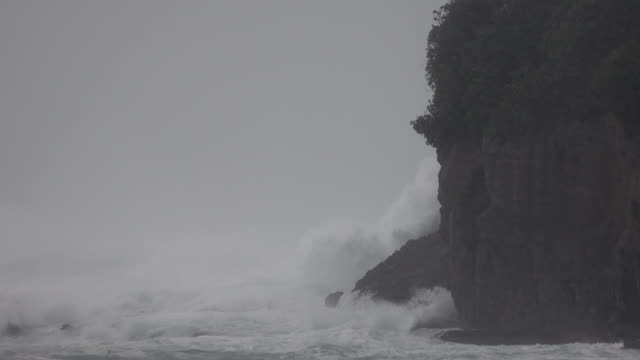 large waves and powerful winds lash the coastline of japan as typhoon hagibis makes landfall - sea stock videos & royalty-free footage