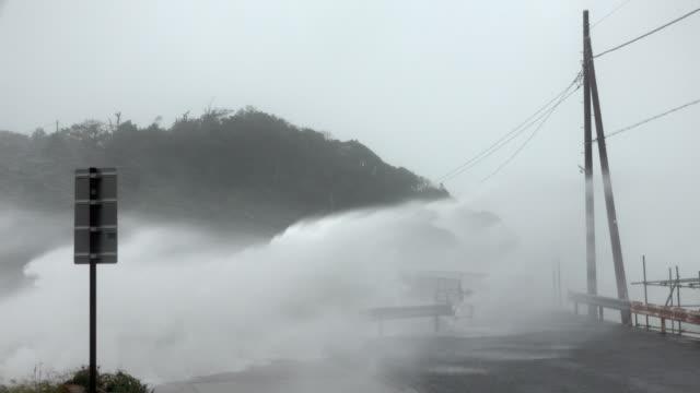 large waves and storm surge lash coast of japan as typhoon hagibis makes landfall - gale stock videos & royalty-free footage