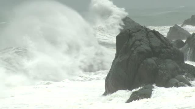 large waves crash ashore in hurricane - felsblock stock-videos und b-roll-filmmaterial