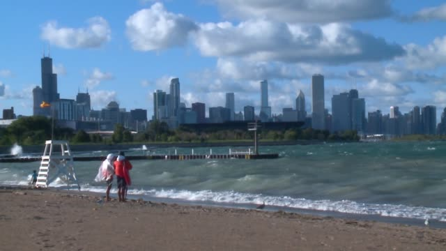 WGN Large Waves Crash Onto the 31st Street Beach in Chicago on September 1 2016