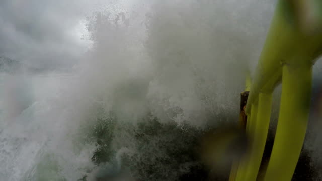 large waves from typhoon chaba lash the coast of okinawa, japan in early october 2016 - pacific ocean stock videos & royalty-free footage