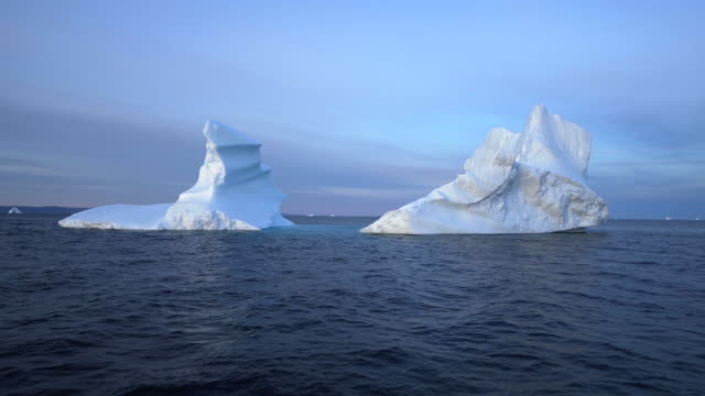 large weathered icebergs in disko bay - weathered stock videos & royalty-free footage