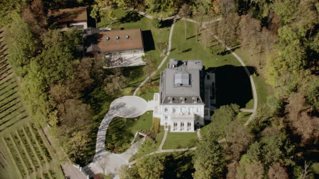 stockvideo's en b-roll-footage met aerial large, white, multi-story residence with black roof surrounded by grass, greenery, pathways and backyard patio - breedbeeldformaat