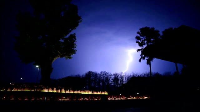 Large wide lightning bolt strikes night