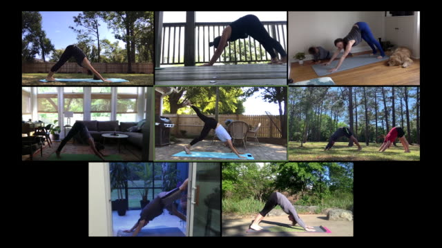 large yoga class exercises on webcam - competition stock videos & royalty-free footage