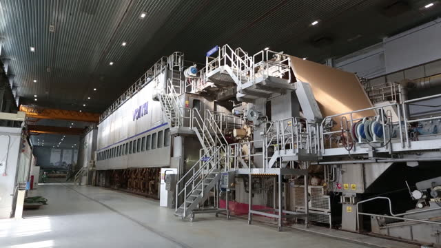 large-scale specialty paper machine operates at the segezha pulp and paper mill jsc, operated by segezha group, in segezha, russia, on friday, march... - paper mill stock videos & royalty-free footage