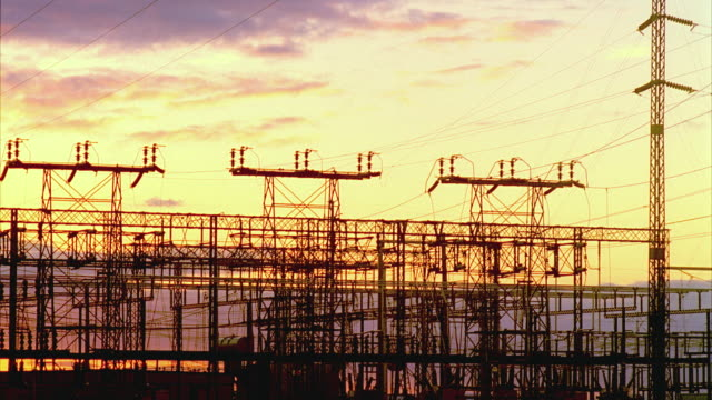 T/L MS PAN Largest California electrical substation (seventh largest in world) at sunset, San Joaquin Valley, California, USA