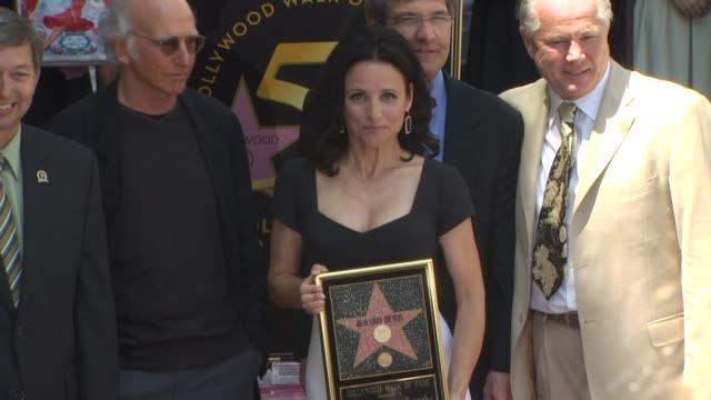 larry david and julia louis-dreyfus at the julia louis-dreyfus honored with a star on the hollywood walk of fame at hollywood ca. - walk of fame stock videos & royalty-free footage