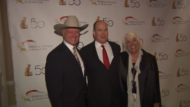 larry hagman hsh prince albert ii of monaco at the monte carlo television festival cocktail party at beverly hills ca - monaco royalty stock videos & royalty-free footage