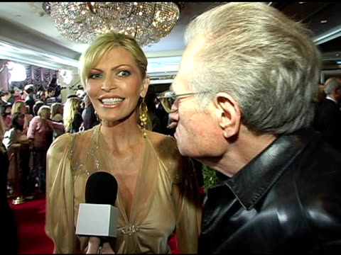 larry king and sharon stone at the clive davis' pre-grammy awards party interviews at the beverly hilton in beverly hills, california on february 13,... - clive davis stock videos & royalty-free footage