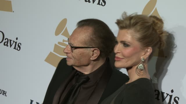 larry king and shawn southwick at the pre-grammy gala and salute to industry icons honoring martin bandier at the beverly hilton hotel on february... - the beverly hilton hotel stock videos & royalty-free footage