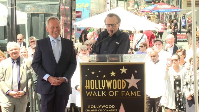 larry king at wolfgang puck honored with star on the hollywood walk of fame at hollywood walk of fame on april 26, 2017 in hollywood, california. - wolfgang puck stock videos & royalty-free footage