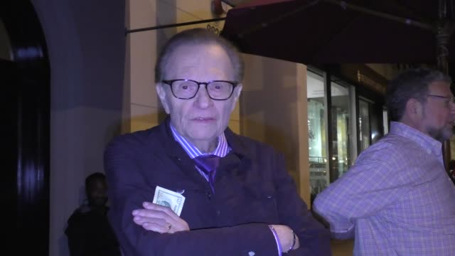 INTERVIEW Larry King Charley Steiner talk about the Chicago Cubs in the World Series outside Craig's Restaurant in West Hollywood in Celebrity...