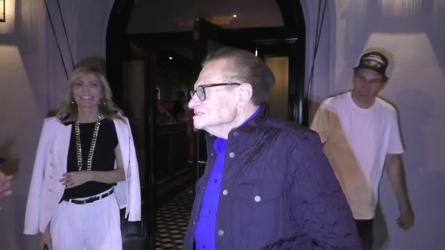 interview larry king comments on cnn's trumpcohen audio recording after dinner with wife shawn king ken meares at craig's in west hollywood in... - cnn stock videos & royalty-free footage