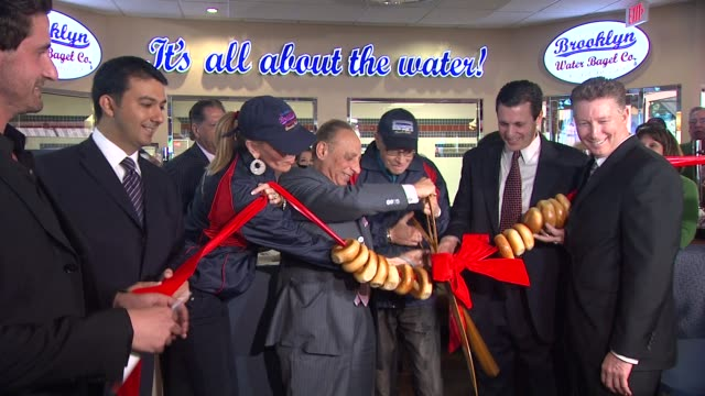 larry king shawn king at the larry king brings brooklyn to la with the grand opening of brooklyn water bagel at beverly hills ca - bagel stock videos & royalty-free footage