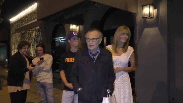 interview larry king talks about donald trump meeting with kim jongun outside craig's restaurant in hollywood in celebrity sightings in los angeles - donald trump us president stock videos and b-roll footage