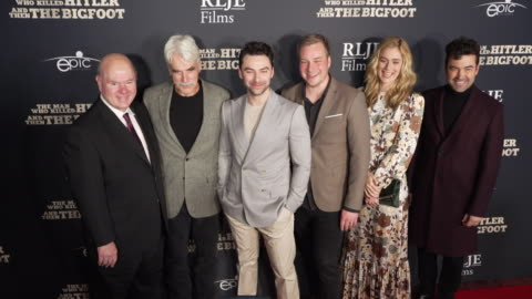 """larry miller, sam elliott, aidan turner, robert d. krzykowski, caitlin fitzgerald, and ron livingston at the """"the man who killed hitler and then the... - sam elliott stock videos & royalty-free footage"""