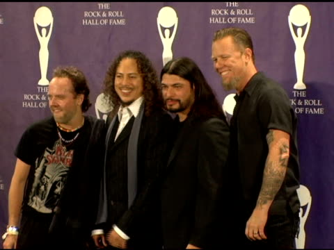 lars ulrich, kirk hammett, robert trujillo and james hetfield of metallica, presenters/performers at the 21st annual rock and roll hall of fame... - メタリカ点の映像素材/bロール