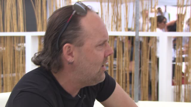 lars ulrich on how they decided to make their film different at 'metallica' interviews at carlton beach on may 17, 2013 in cannes, france - メタリカ点の映像素材/bロール