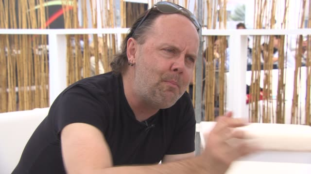 lars ulrich on why they decided to make a movie, wanting to make something different at 'metallica' interviews at carlton beach on may 17, 2013 in... - メタリカ点の映像素材/bロール